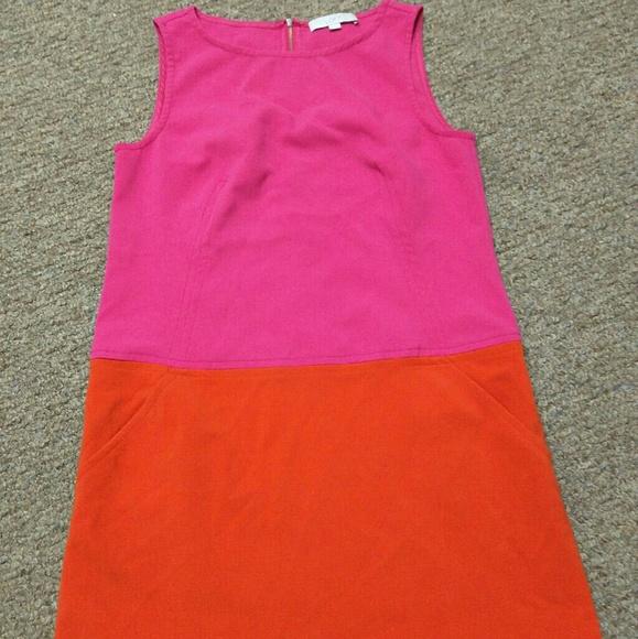 LOFT Dresses & Skirts - Loft orange pink dress size 10